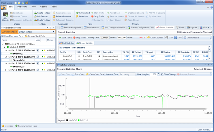XenaManager-2G test software is a free application for generating and analyzing Gig-E traffic